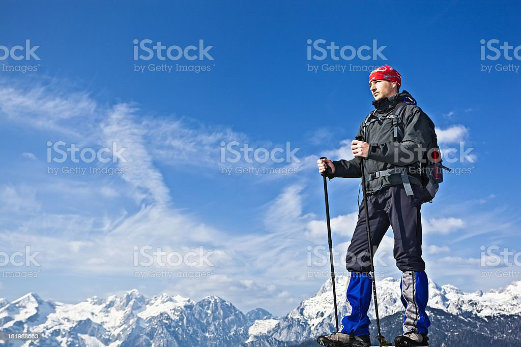mountaineer in the alps stock photo