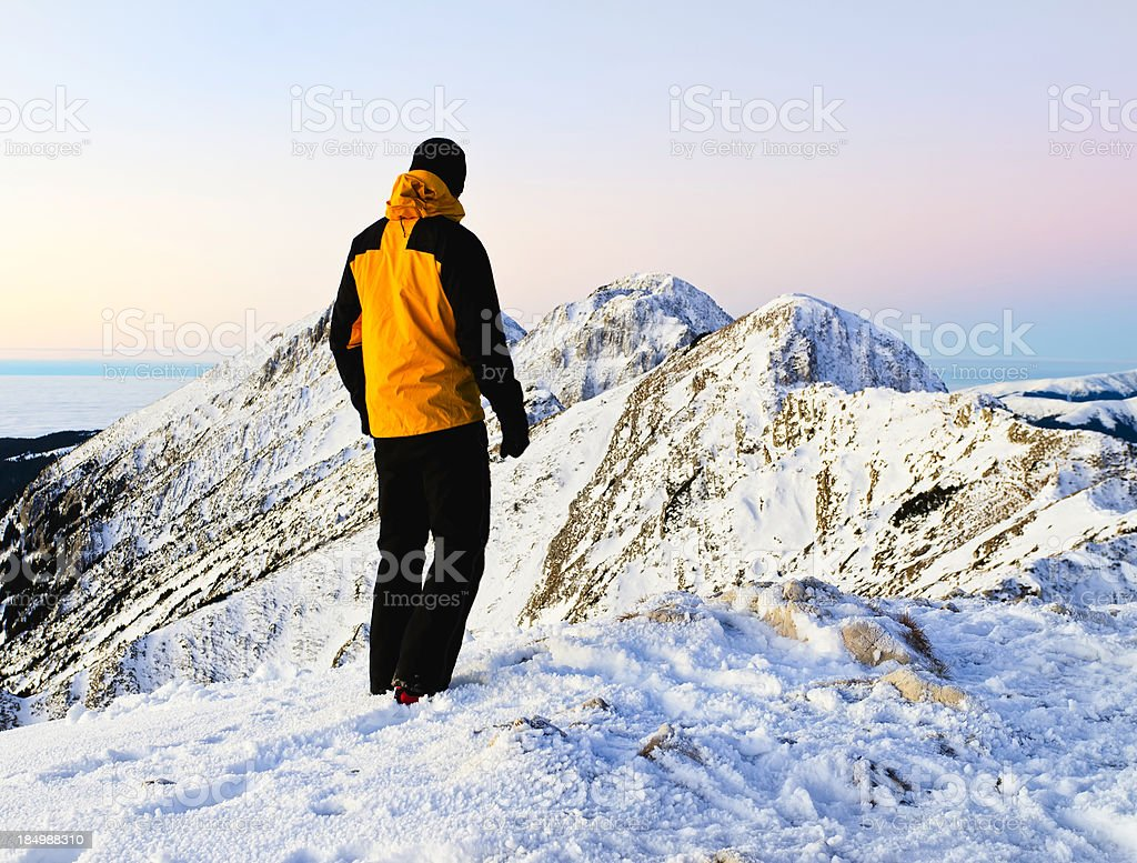 mountaineer looking at view royalty-free stock photo