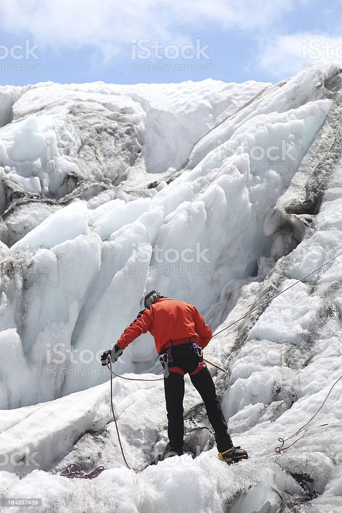 Mountaineer on a glacier royalty-free stock photo