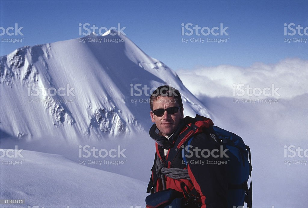 Mountaineer on Mont Blanc, French Alps stock photo