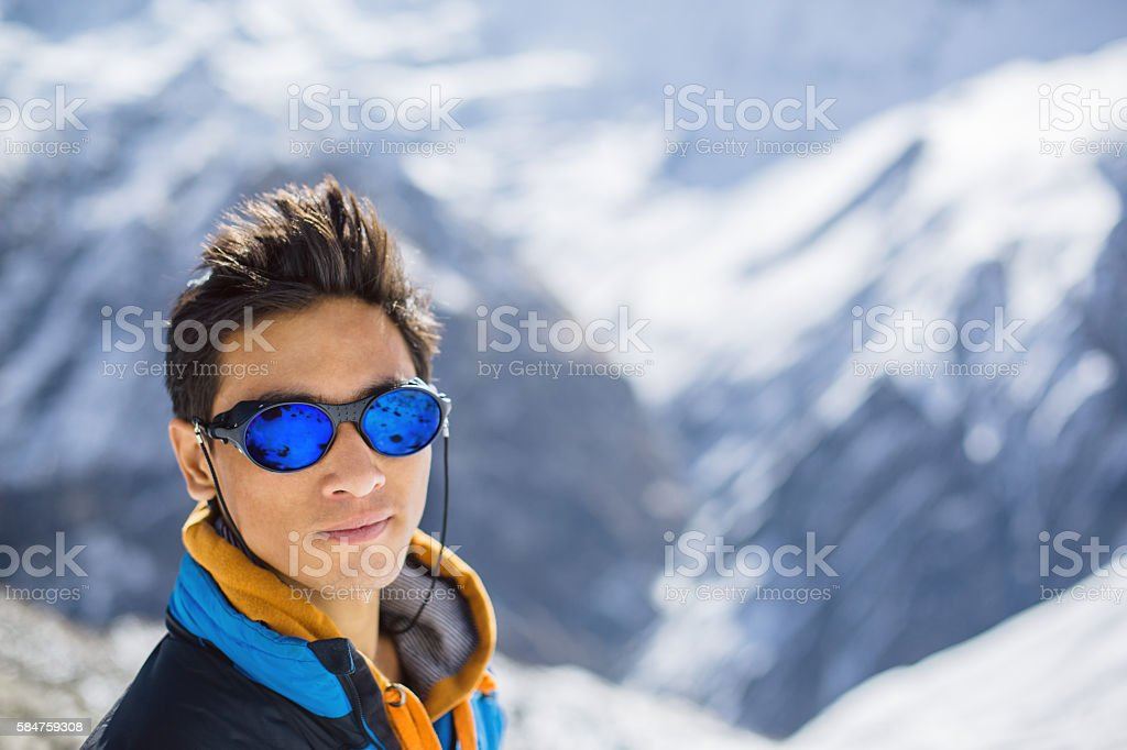 Mountaineer portrait stock photo