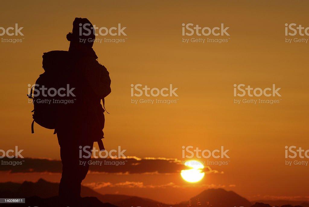 Mountaineer silhouette royalty-free stock photo