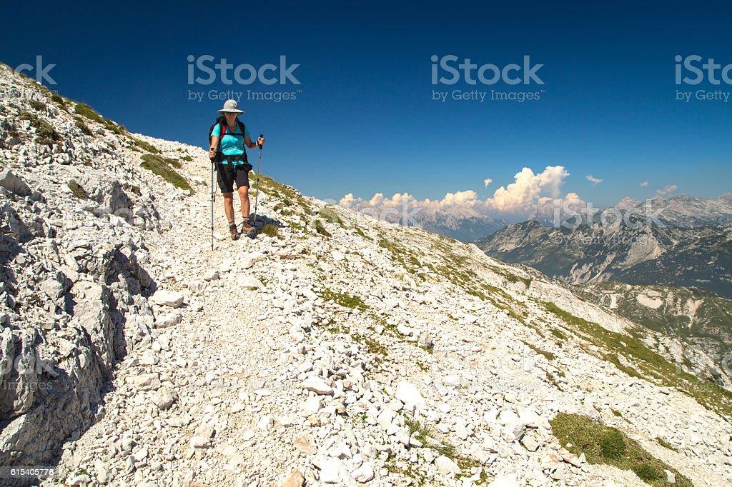 Mountaineer walking on the mountain Peski stock photo