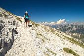 Mountaineer walking on the mountain Peski