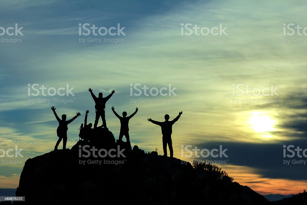 mountaineering activities and successful team. stock photo