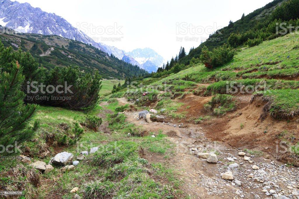 Mountaineering at Hahntennjoch in Austria. Mountain landscape in Austria stock photo