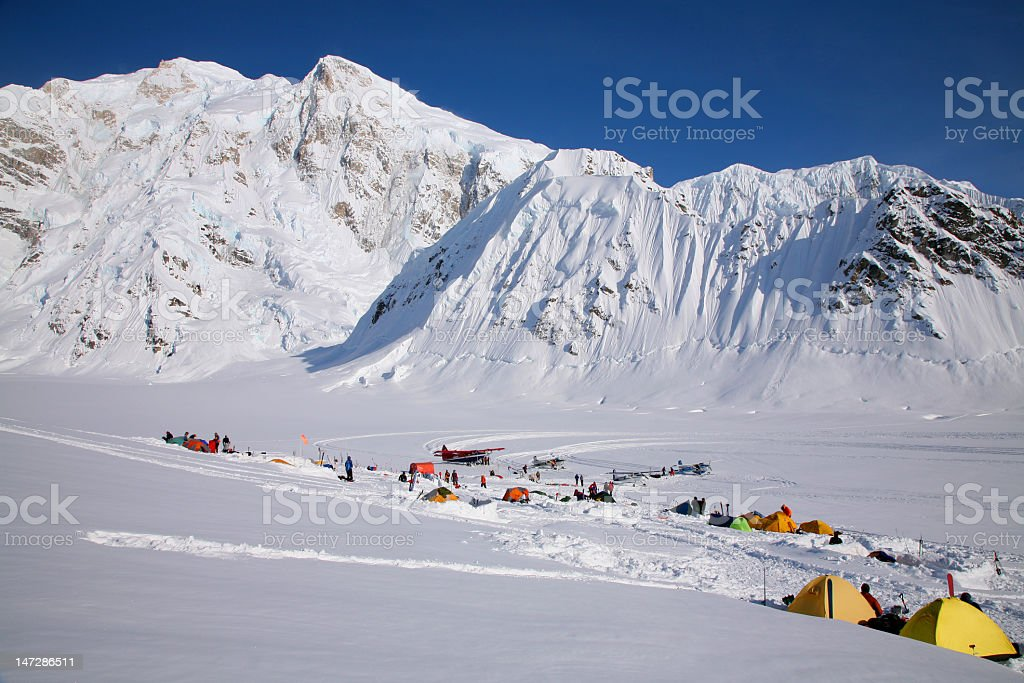 mountaineering base camp in Alaska stock photo