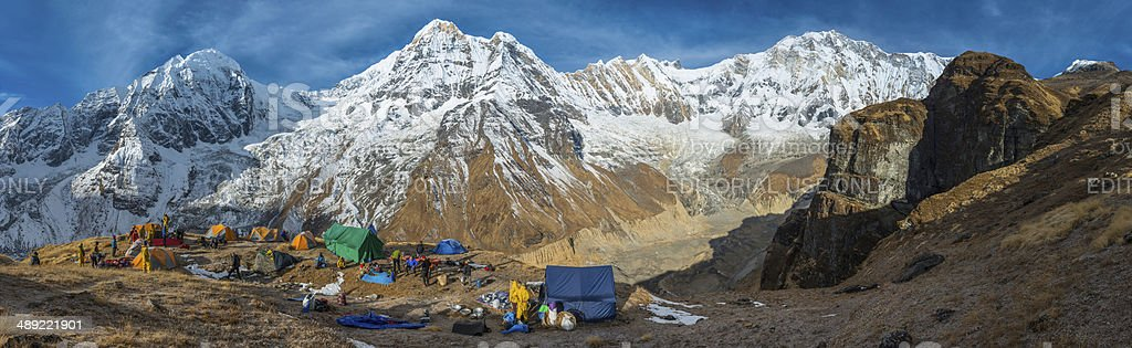 Mountaineering expedition base camp panorama high in Himalayas Annapurna Nepal stock photo