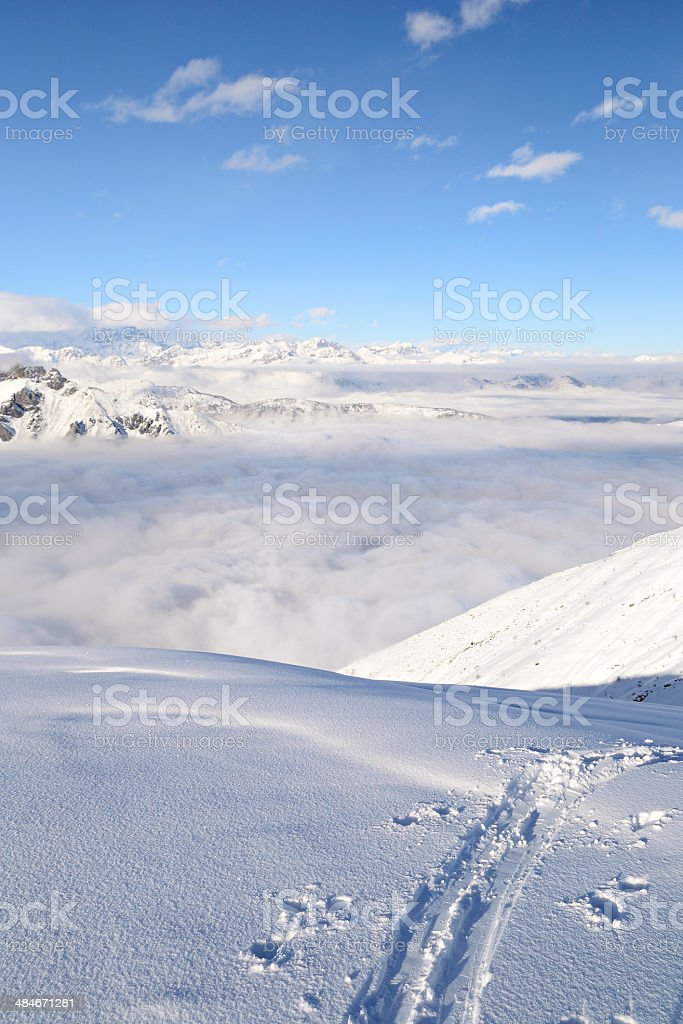 Mountaineering in fresh snow stock photo