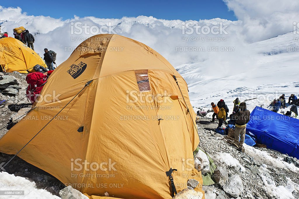 Mountaineering teams at high altitude camp Himalayas Nepal stock photo