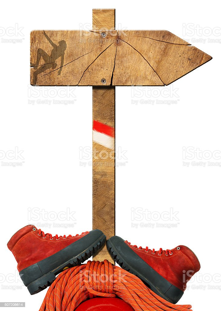 Mountaineering - Wooden Directional Sign stock photo