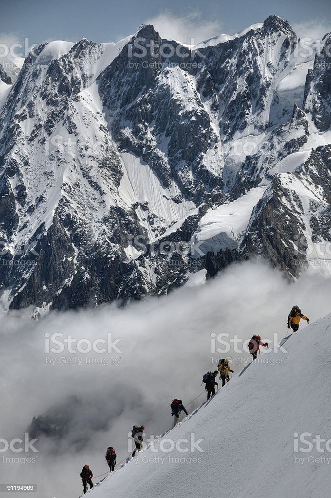 Mountaineers at Aguille du midi royalty-free stock photo