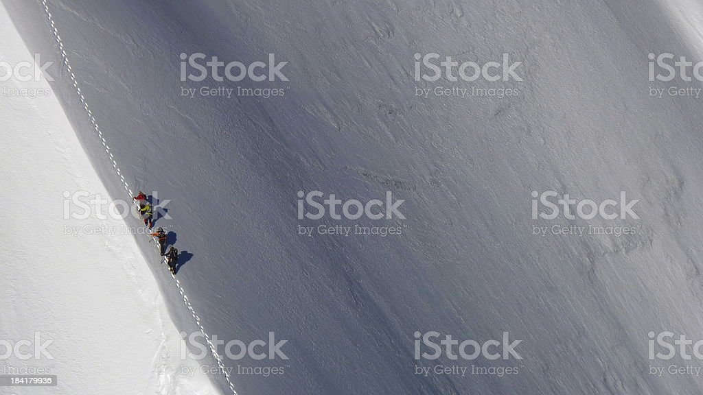 Mountaineers climbing north face stock photo