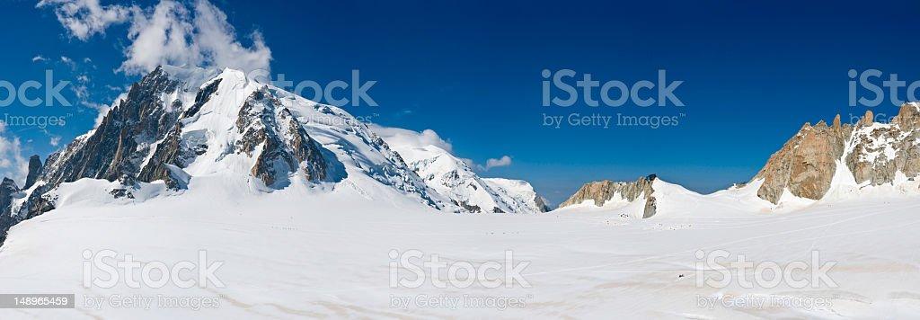 Mountaineers exploring white wilderness royalty-free stock photo