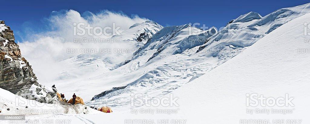 Mountaineers high altitude base camp mountain panorama Himalayas royalty-free stock photo