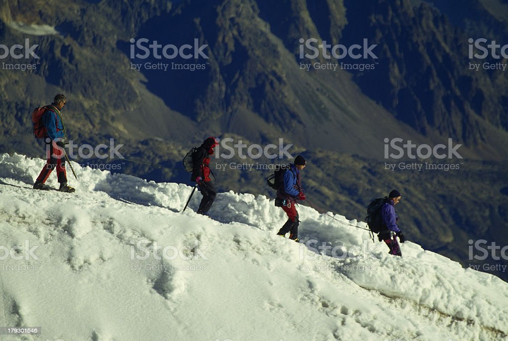 Mountaineers in abscend stock photo