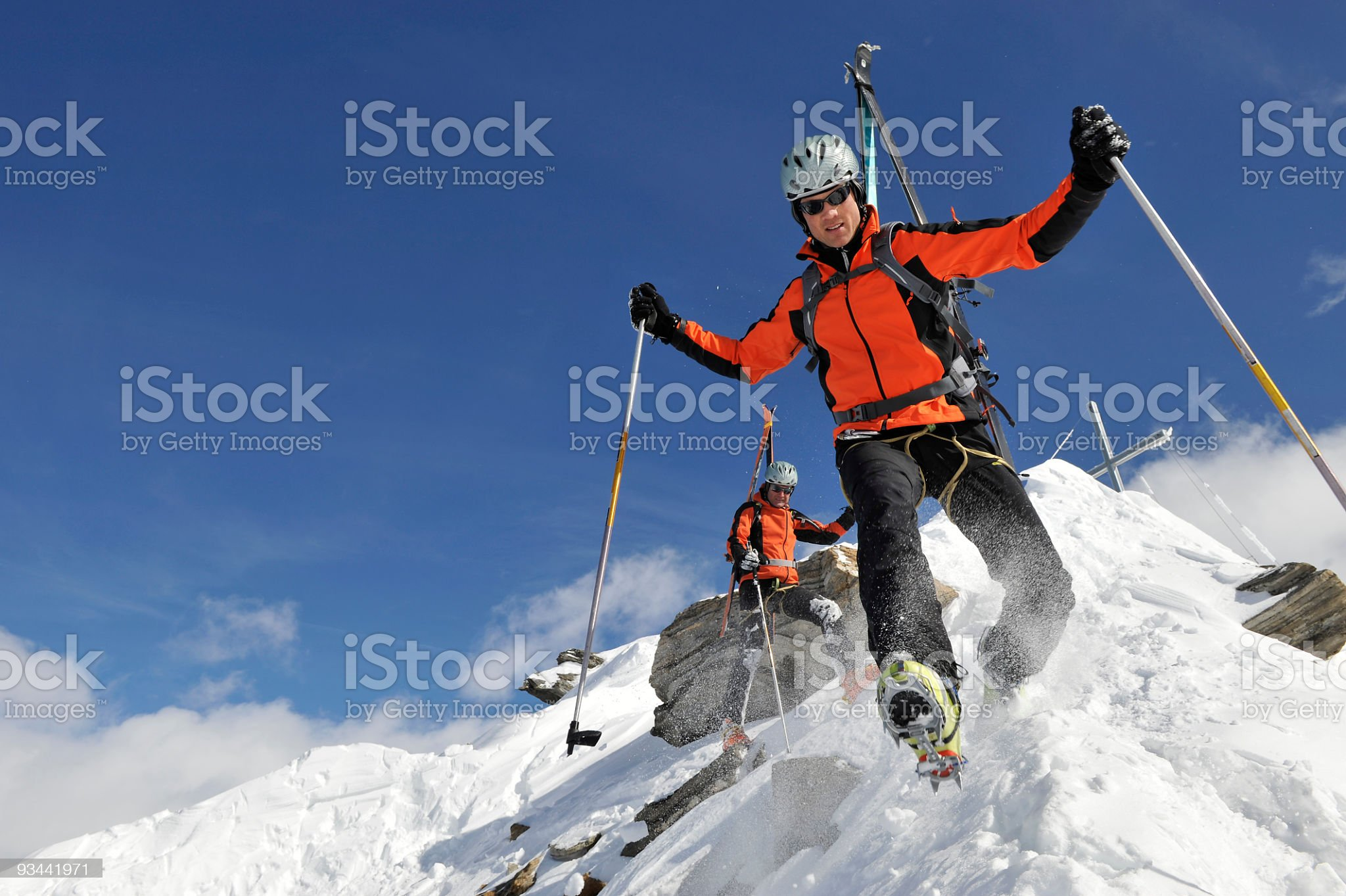 Bergsteiger in extremer Lage royalty-free stock photo