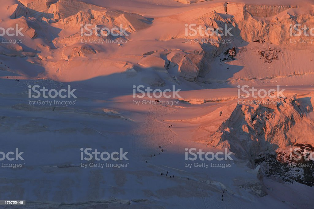 Mountaineers on a glacier royalty-free stock photo