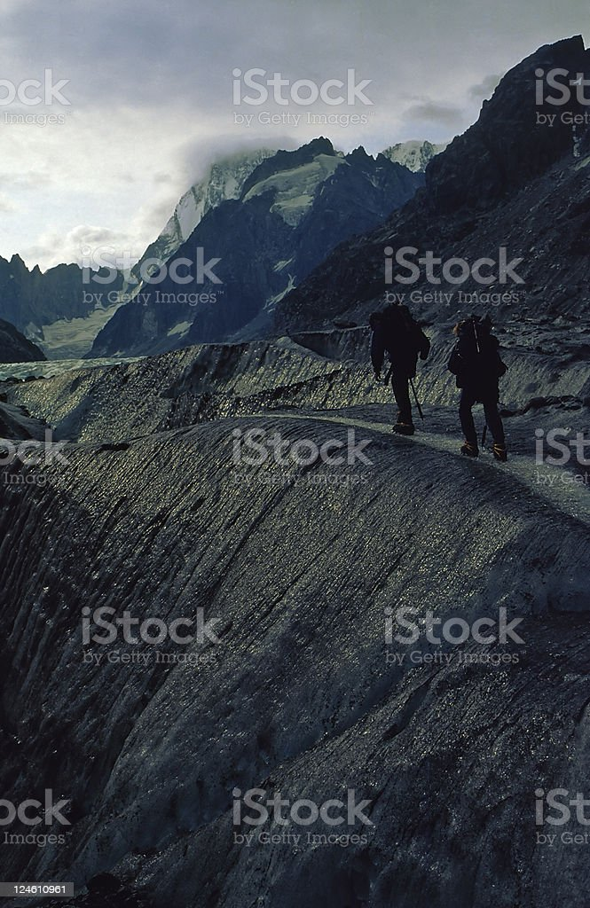 mountaineers on glacier royalty-free stock photo