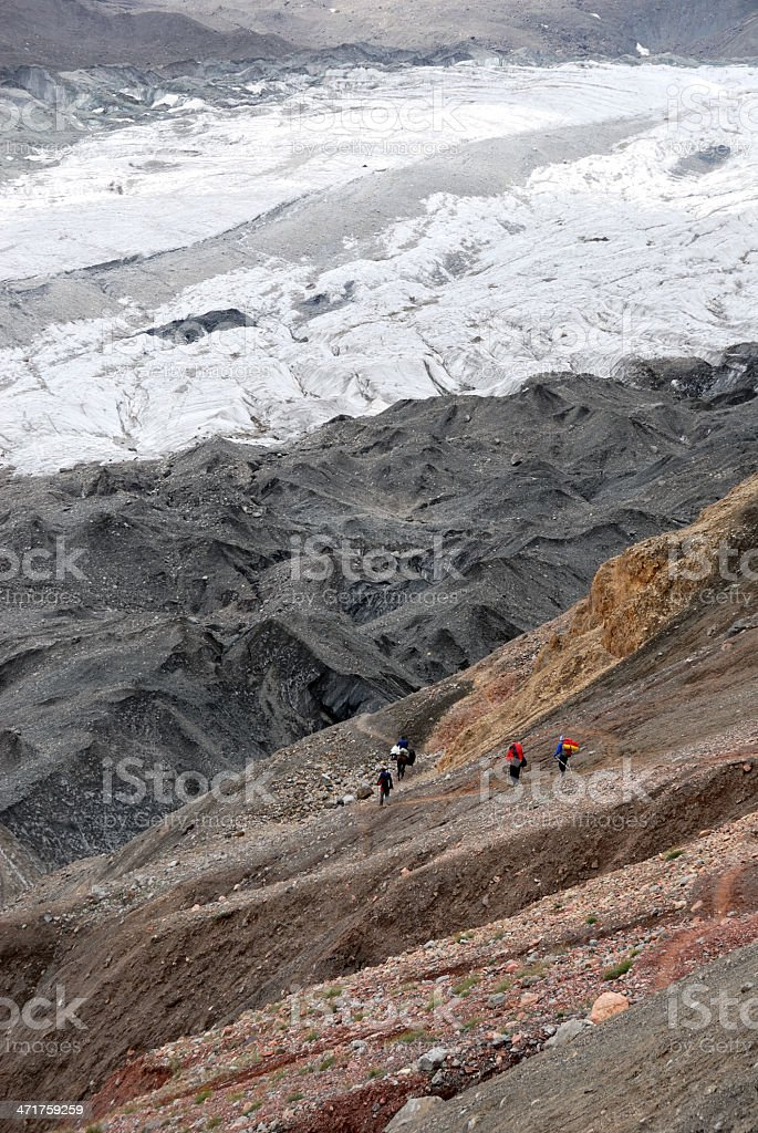 Mountaineers on the trail royalty-free stock photo