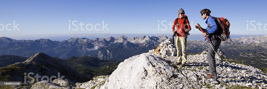 Mountaineers on top of the mountain royalty-free stock photo