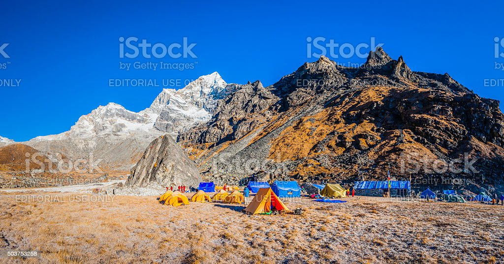 Mountaineers remote Himalaya base camp Makalu Barun National Park Nepal stock photo