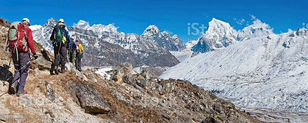 Mountaineers trekking in Everest National Park Himalayas Nepal royalty-free stock photo