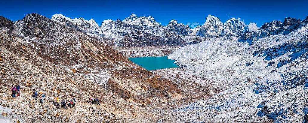Mountaineers trekking to Gokyo Lake below Mt Everest Himalayas Nepal stock photo