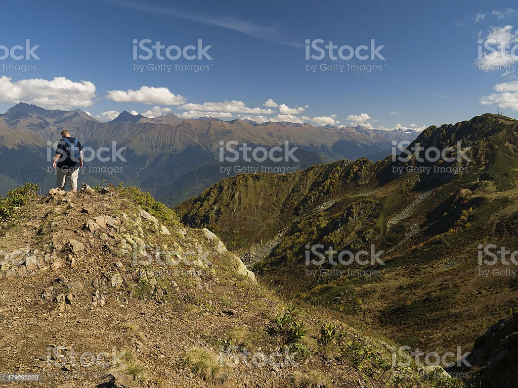 mountainer on the top of mountain royalty-free stock photo