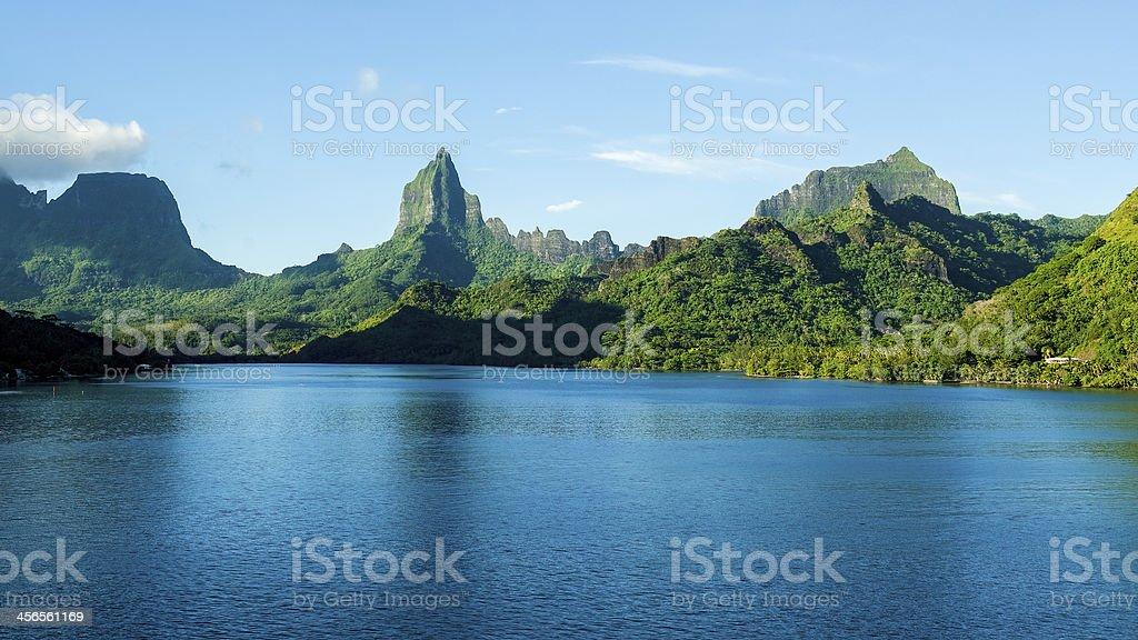 Mountainous coast of Moorea in Tahiti from ocean stock photo
