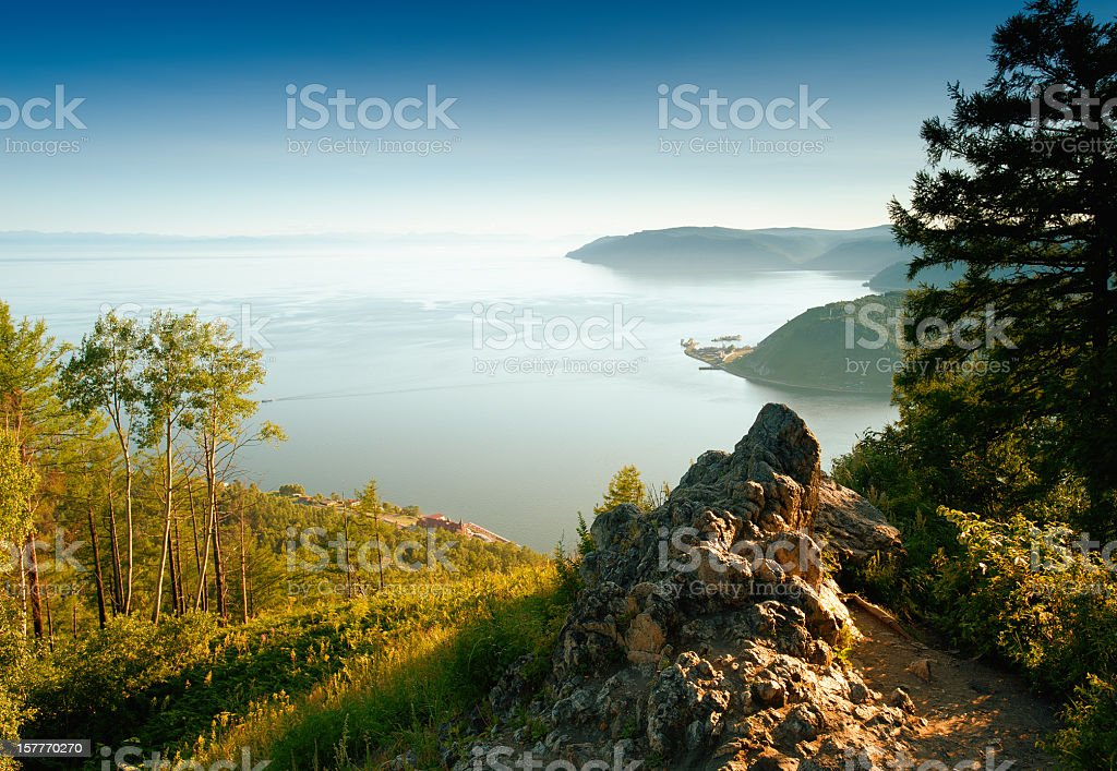 Mountainous inlet landscape on a summer day stock photo