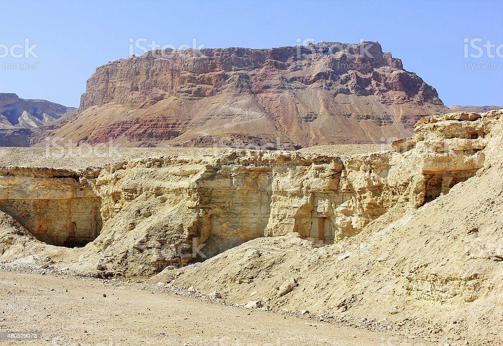 mountainous Judean Desert near the Dead Sea, Israel stock photo