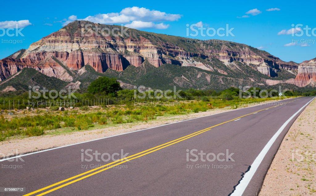 Mountainous landscape in Ischigualasto Provincial Park stock photo