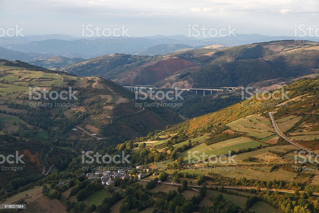 Mountainous Landscape Overview from O Cebreiro stock photo
