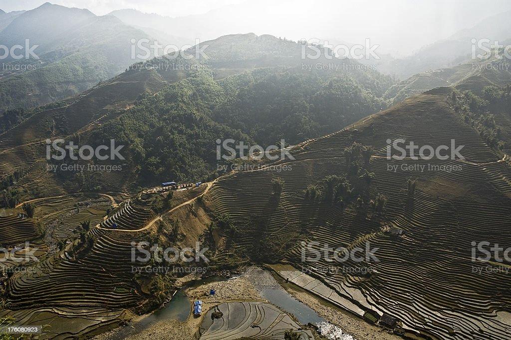Mountainous Landscape Vista Near Sapa In Vietnam stock photo