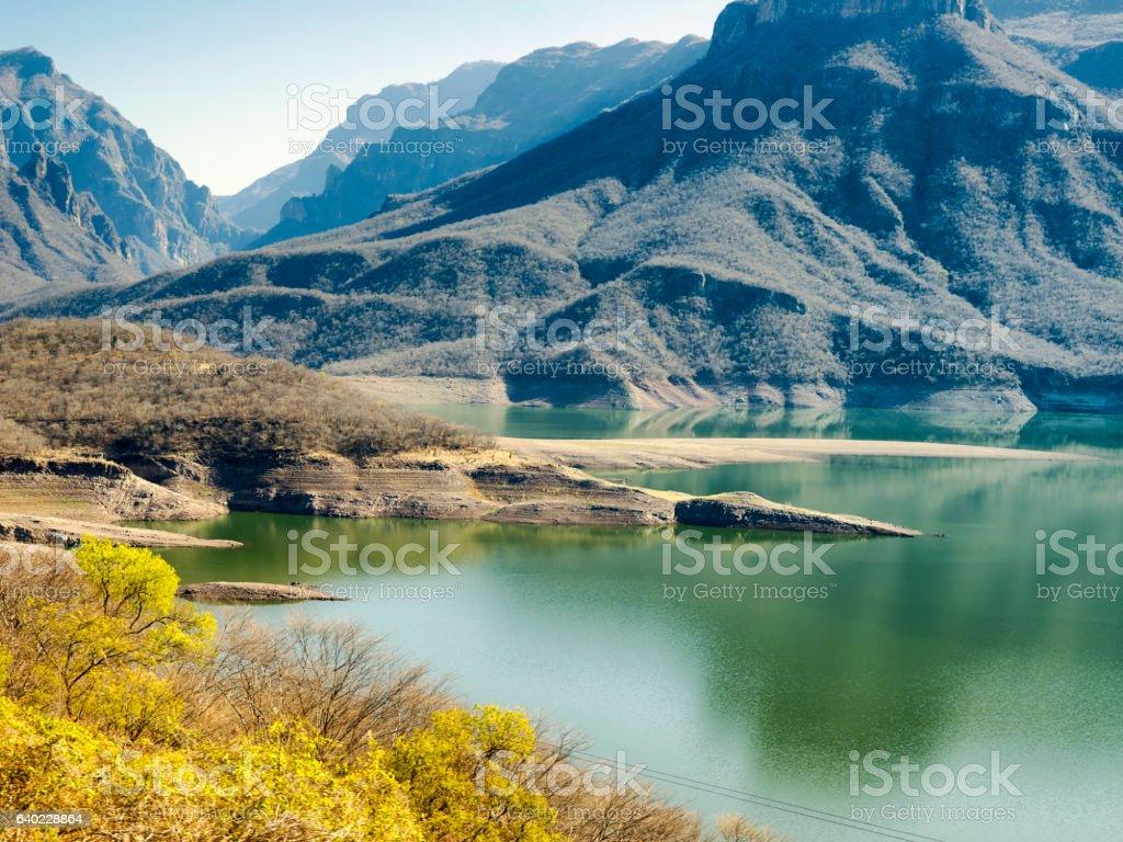 Mountainous landscapes of Copper Canyon, Chihuahua, Mexico stock photo