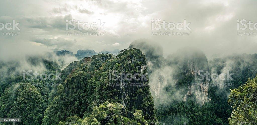 Low Clouds Over A Karst Landscape Forest