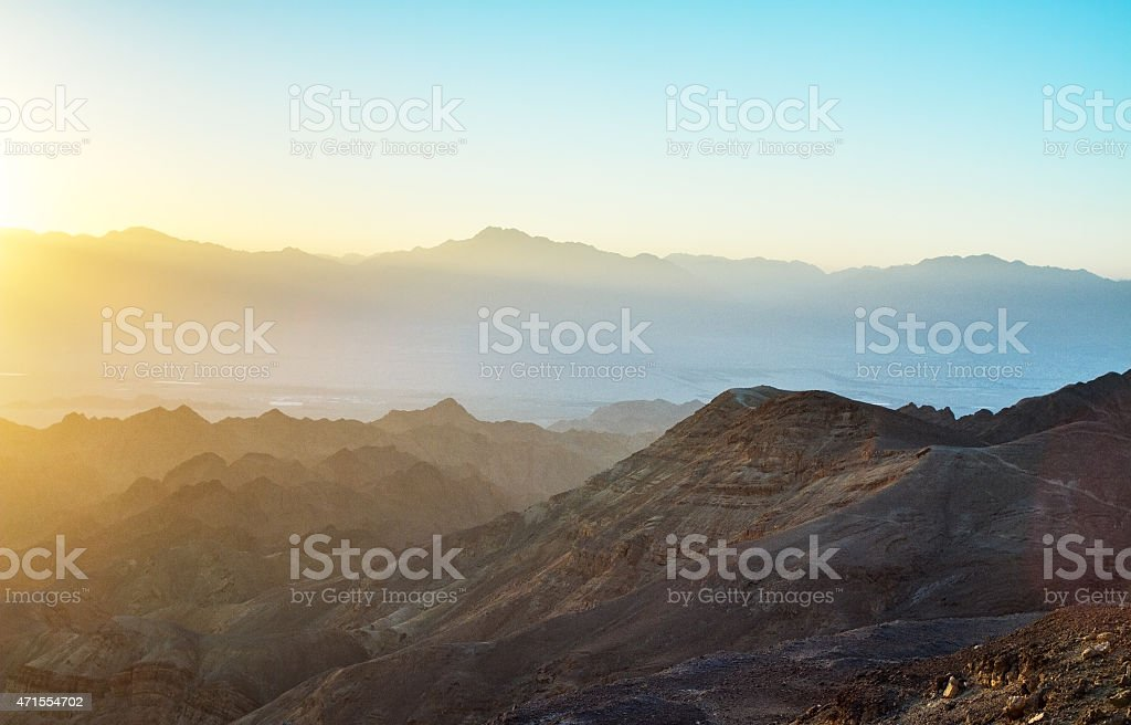 Mountainous sunrise landscape over the Red Sea stock photo