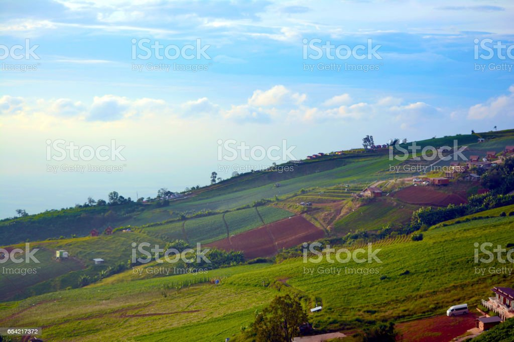 Mountainous terrain and the blue sky stock photo