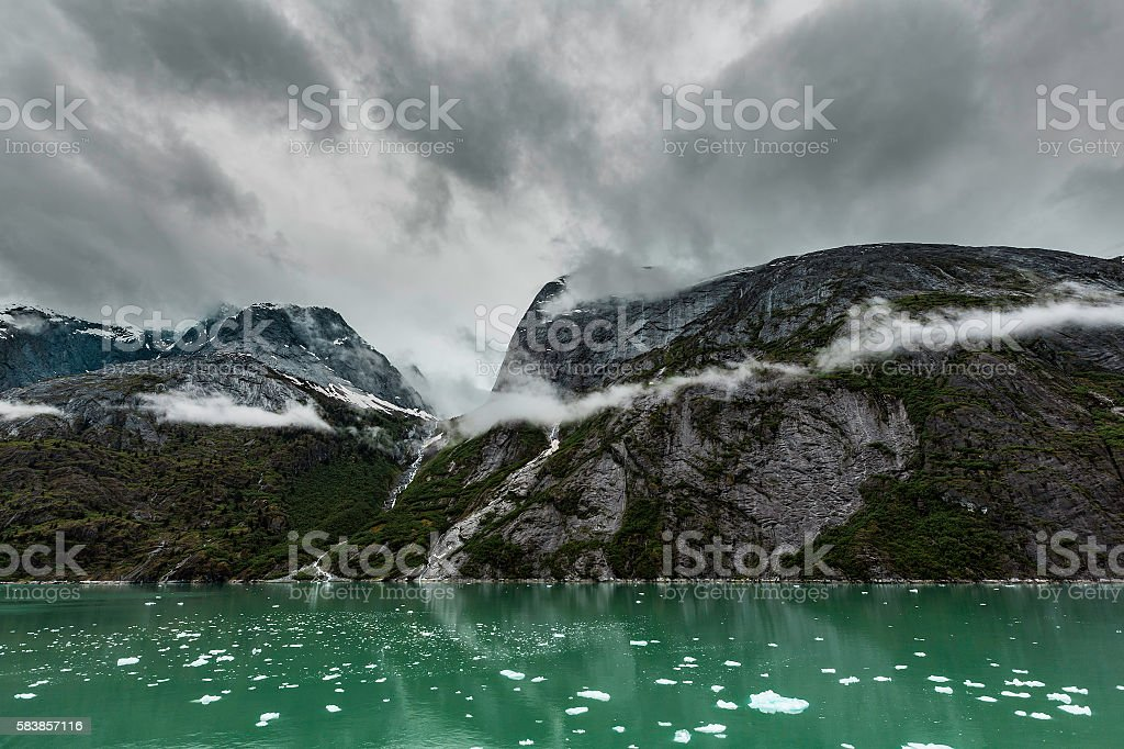Mountains Along the Endicott Arm Fjord stock photo