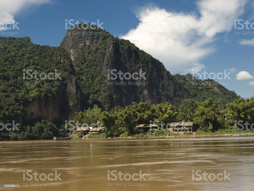 mountains along the river royalty-free stock photo