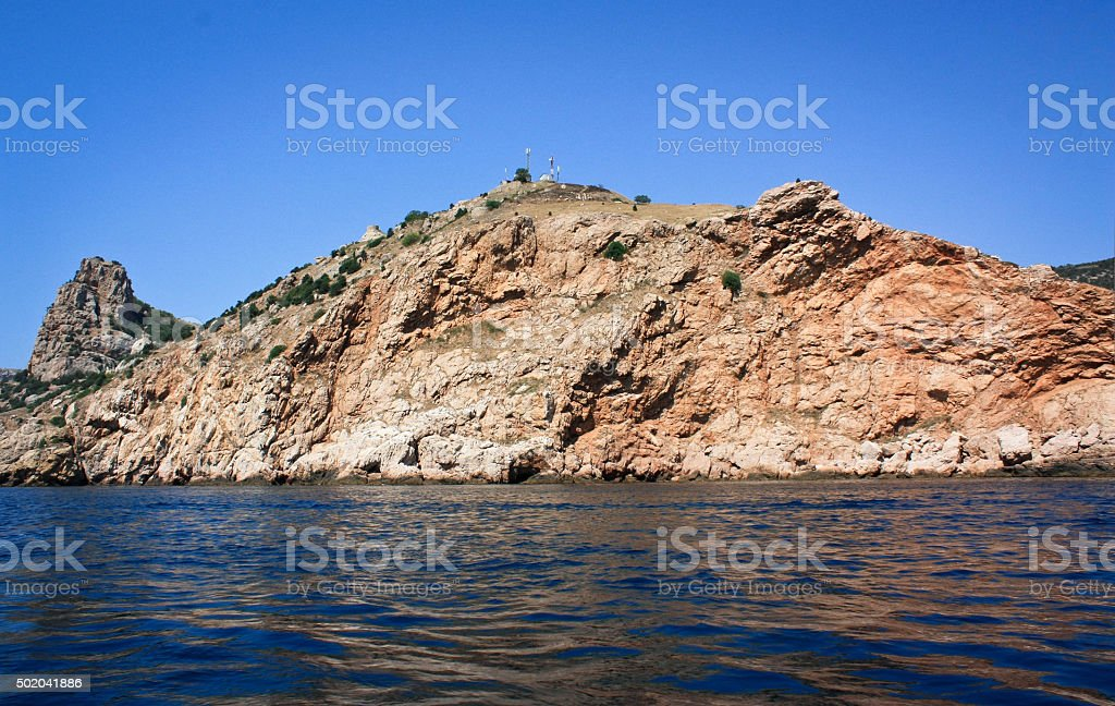 Mountains and blue sea stock photo
