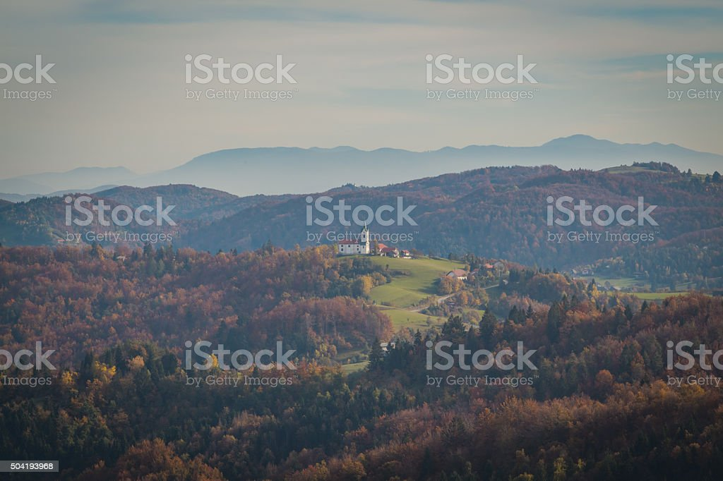 Mountains and church. stock photo