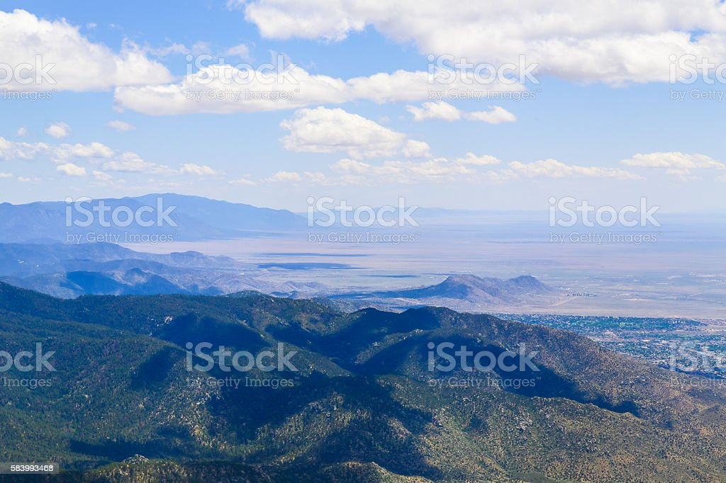 Mountains and City stock photo