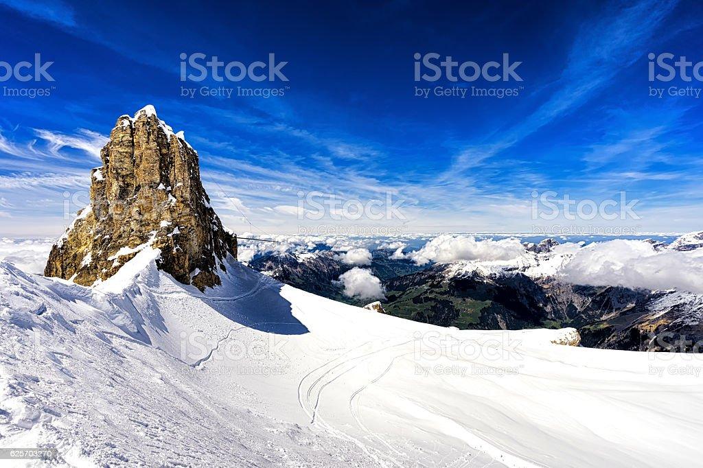 Mountains and cliff with snow,ski area,Titlis mountain,switzerland stock photo