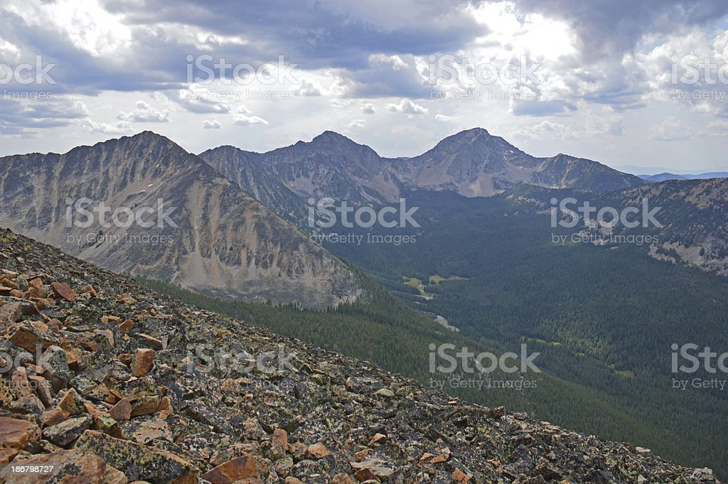 Mountains and Clouds in the Anaconda-Pintler Wilderness stock photo