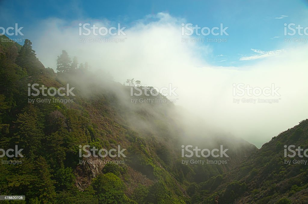 Mountains and Clouds Landscape in California, Background stock photo