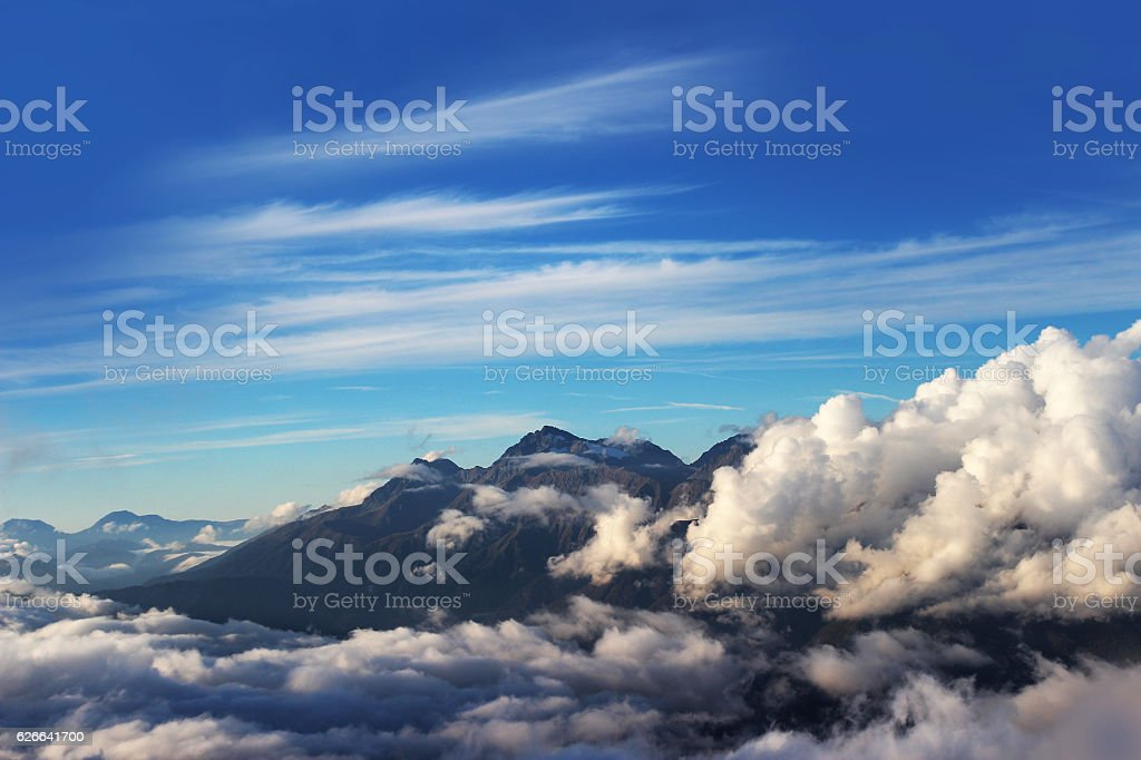 Mountains and clouds stock photo