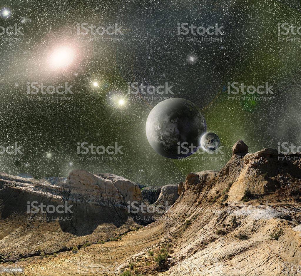 mountains and cosmos space stock photo