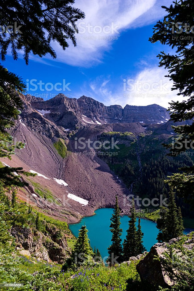 Mountains and Deep Blue Lake stock photo